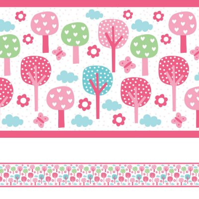 Adesivo de Parede Faixa Decorativa Infantil Floresta Rosa 6m x 15cm