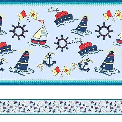 Adesivo de Parede Faixa Decorativa Infantil Marinheiro 6m x 15cm