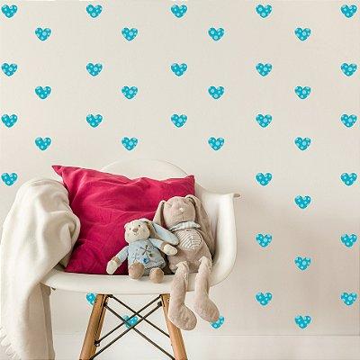 Adesivo de Parede Infantil Coração Azul Bolinhas