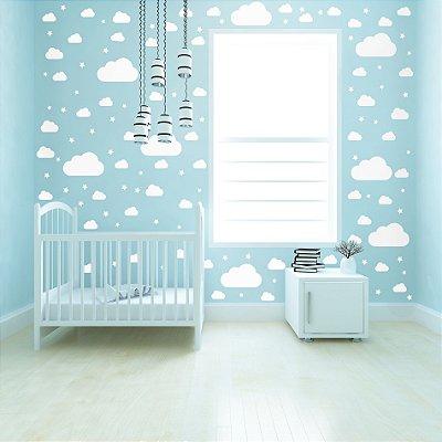 Adesivo de Parede Infantil Nuvens Brancas 64 un