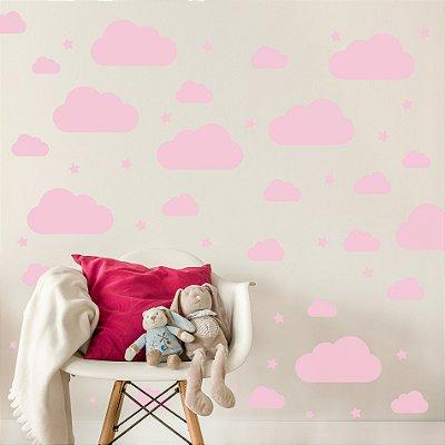 Adesivo de Parede Infantil Nuvens Rosas 64 un