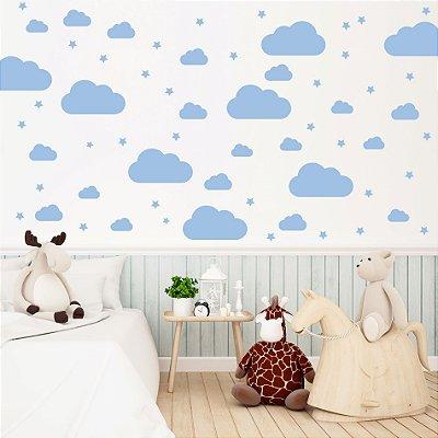 Adesivo de Parede Infantil Nuvens Azul 64 un