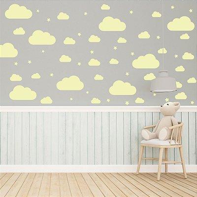 Adesivo de Parede Infantil Nuvens Amarelo 64 un