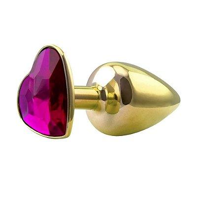 Plug De Metal Detalhe Coração Dourado C/ Pedra Rosa Hard