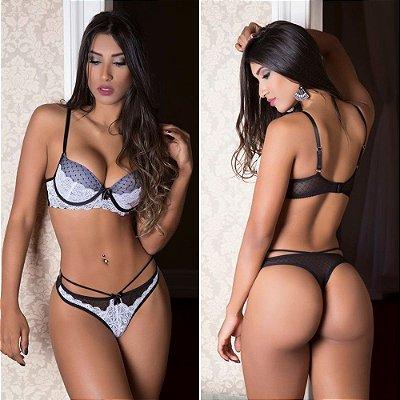 Conjunto Lingerie Sexy Tule e Renda Com Bojo Preto e Branco Garota Veneno