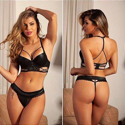 Conjunto Lingerie Sexy Cropped Com Brilho e Bojo Preto Garota Veneno