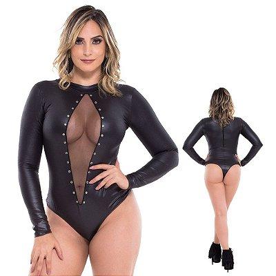 Body Sexy Preto Em Cirrê Fendy Sapeka Lingerie