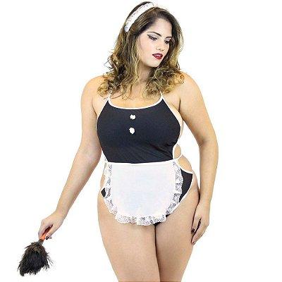 Fantasia Empregada Plus Size Sexy Feminina Body Preto Mil Toques