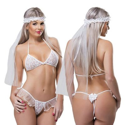 Fantasia Noiva Sexy Feminina Desejos Sexy Fantasy