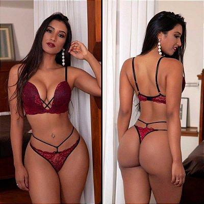Conjunto Lingerie Sexy Bojo Decote Profundo Garota Veneno