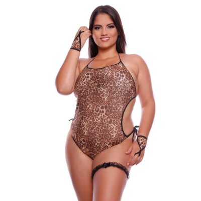 Body Felina Plus Size Sexy Feminina Luvas Persex Mil Toques