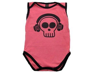 Body Regata Caveira (Rosa) - Baby Bros
