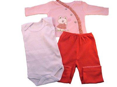 Conjunto Pagão com 3 Peças Urso (Rosa) Tamanho Único - Puro Carinho
