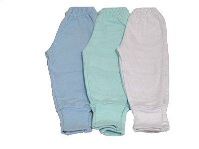 Calça Culote/Mijão 3 Unidades (Branco-Verde-Azul) - Petutinha