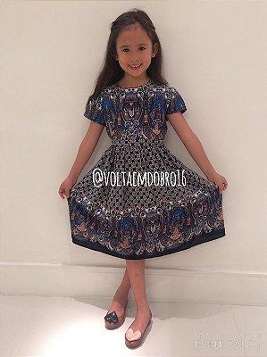 Vestido Estampa Azul Mix Infantil
