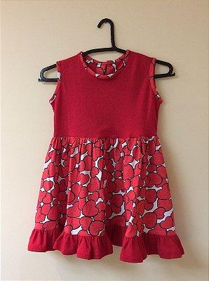 Vestido Malha Estampa Coração Infantil