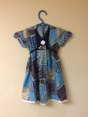 Vestido Mix Azul com Rosa Branca Infantil