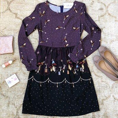 Vestido ML Ratinhos no Carretel e Cogumelos