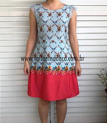 Vestido Curto Floral Tea Pot