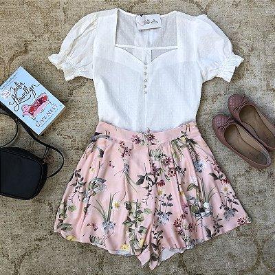 Short Floral com Pregas
