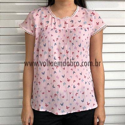 Blusa Estampada com Frente Plissada