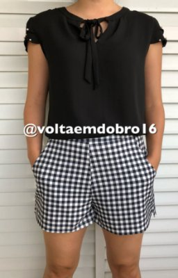Shorts Estampado com Nesga Lateral Vichy