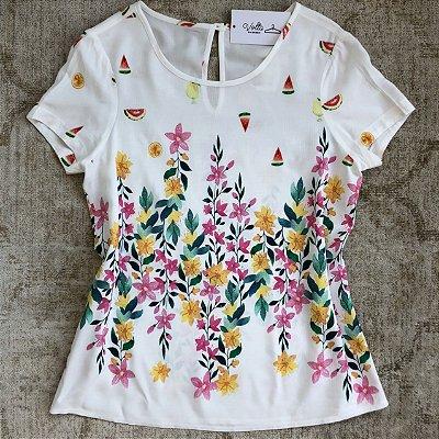 Blusa Estampa Floral Coquetel de Frutas