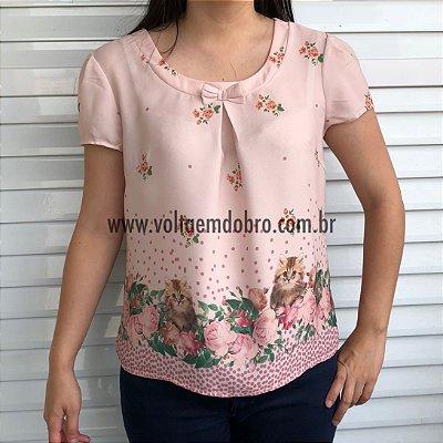 Blusa Rosas e Gatinhos