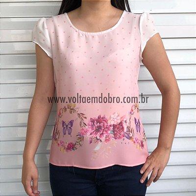 Blusa Borboletas e Flores