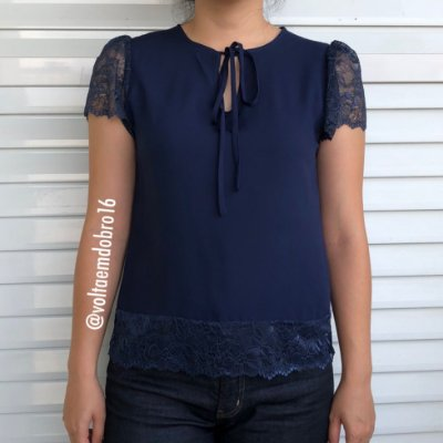 Blusa Plus Size Marinho Renda