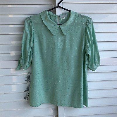 Blusa Plus Size Lisa Verde Pipoca