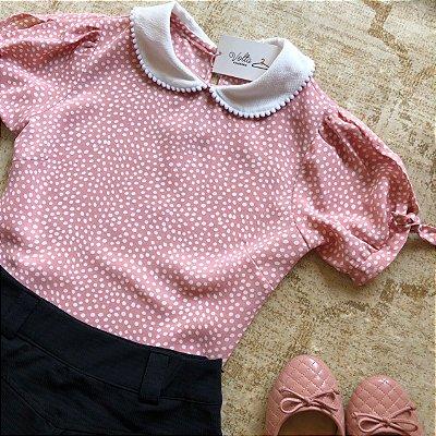 Blusa Plus Size Rosa Pois