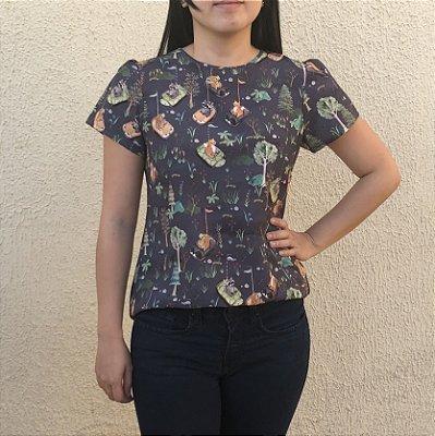 Blusa Plus Size Raposas e Tartarugas