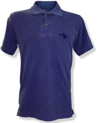 Polo Estonada piquet Bordado - Azul