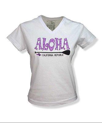 Baby Look Feminina Aloha - Branca