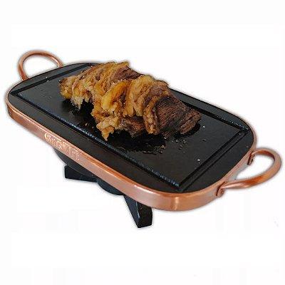 Aparelho De Fondue De Carne De Pedra Sabão Retangular Com Alça Em Cobre Com Rechaud