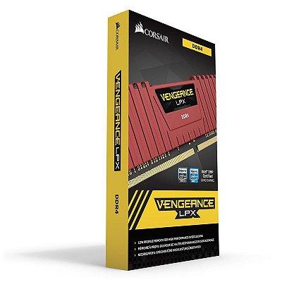 Memória Corsair Vengeance LPX 4GB 2400Mhz DDR4 Red - CMK4GX4M1A2400C14R
