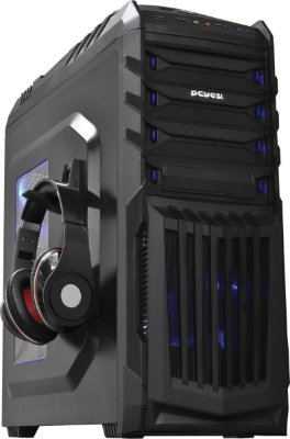 Gabinete PcYes Mid Tower New Tiger Preto com LED Azul e Suporte para Headphone TIGERPTOAZ2FCA