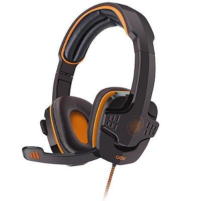 Headset Gamer Oex Target USB HS-203 Preto/Laranja