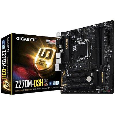 Placa-Mãe GIGABYTE Intel LGA 1151 mATX GA-Z270M-D3H DDR4