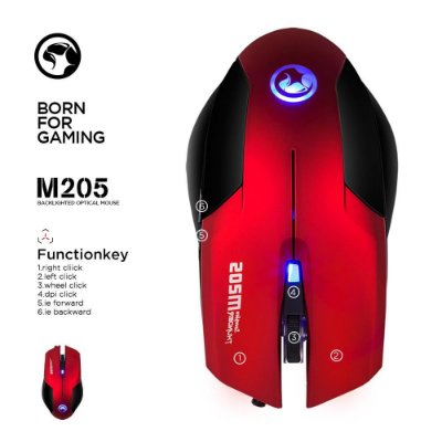 Mouse Gamer Marvo Scorpion M205 RED 800/1600 DPI - M205 RD
