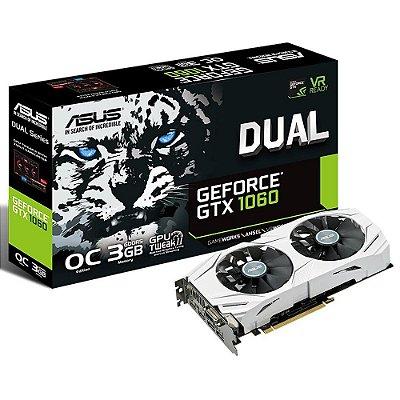 Placa de Vídeo NVIDIA ASUS GEFORCE GTX 1060 3Gb GDDR5, 192-Bits, VR Ready, Auto-Extreme, Wing-Blade Fans, DVI/2-HDMI/2-DP, DUAL-GTX1060-O3G