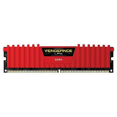 Memória Corsair Vengeance LPX 8GB 2400Mhz DDR4 C16 Red - CMK8GX4M1A2400C16R