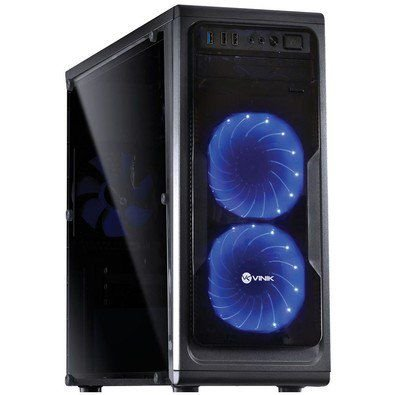 Gabinete Vinik Midtower Vx Gaming Guardian Full Window com 2 FAN Azul Frontal 120mm Grdptoaz2fca