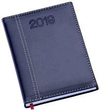LG107 Agenda Diária Capa de Couro Sintético Azul Marinho com costura