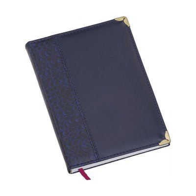 LG121 Agenda diária capa de couro sintético Azul Marinho Croco lateral