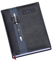 LG133 Agenda Diária  capa de couro sintético Preta com porta caneta azul