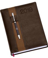 LG135 Agenda Diária capa de couro sintético com porta caneta marrom
