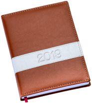 LG138 Agenda diária capa de couro sintético marrom com faixa horizontal