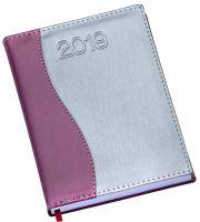 """LG153 Agenda Diária capa de couro sintético com detalhe """"S""""em rosa"""